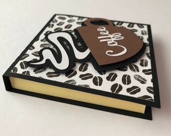 "Handmade ""Coffee"" Post It Note Holders, Notepad, Coffee Lover"