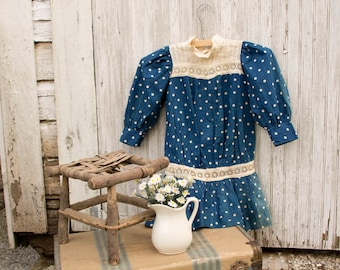 1920s Girls Polk a Dot Cotton Dress Eyelet Insertion Drop Waist - Handmade - Pinafore - Sundress Shabby Cottage Country Chic Fourth of July