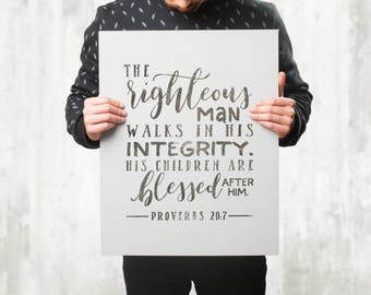 Gifts For Dad - Gift For Man - Proverbs 20 7 - Gift For Him - The Righteous Man - Father Gift - Wall Art Canvas - Home Decor Gift - Canvas