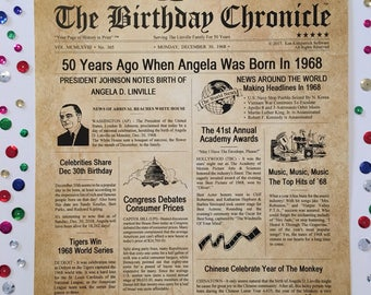 50th Birthday Gifts, Personalized, Headline News Print, Time Capsule, Newsletter Style, 1968 Birthday Gift, Chronicle, 50th Milestone Gifts