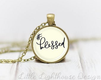 Medium Blessed Necklace Quote Necklace Quote Pendant Verse Necklace Christian Pendant Christian Jewelry Gift