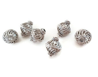 3 Antique Silver Hollow Drum Beads, Jewelry making Supply, Filigree, Lead Free, Nickel free