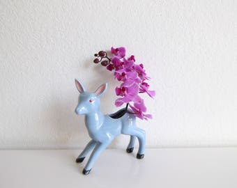 VINTAGE Mid Century Deer Planter Figurine Blue Ceramic