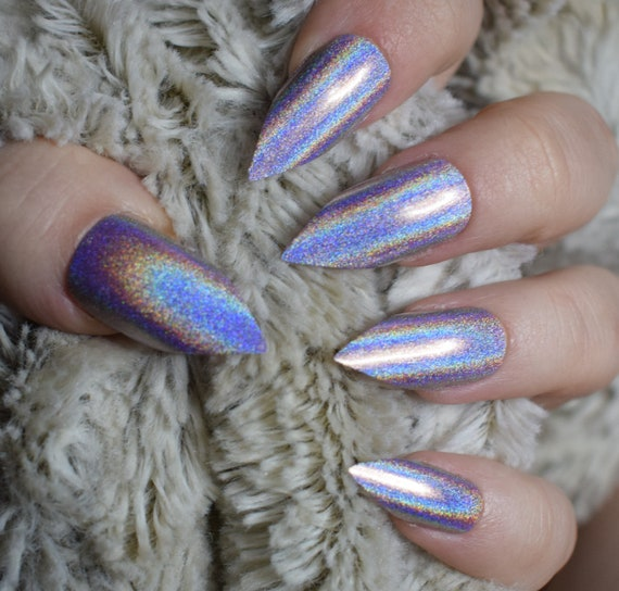 Holographic Pink Fake Nails, Long Pointy Stiletto False Nails, Hand ...
