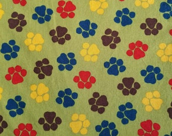 Dog Paws Cotton Fabric, Sewing Fabric, Quilting Fabric, 1.5 yards-Ready to Ship