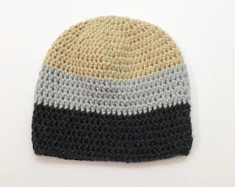 Crochet Beanie- Neutral Tone Grey Beige Colorway Beanie