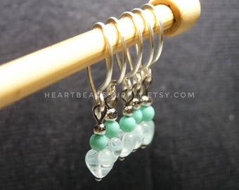 Heart, mint stitch markers knitting crochet  id1330716, removable, snagless, snag free, stitchmarker, split ring, yarn marker, knitter gift