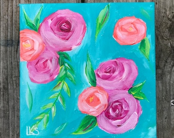 Pink & Teal 2, 6 in. x 6 in. Original Acrylic Painting on Gallery Wrapped Canvas