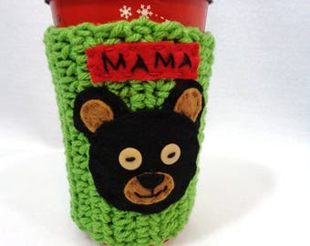 Mama Bear Cup Cozie, Crocheted Coffee Cup Sleeve, Water Bottle Cover or Mug Cozy, Mothers Day Gift, Forest Animal, Gift for Friend