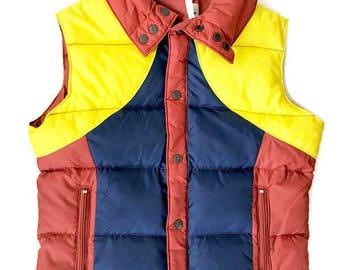 Vintage 70's Down Vest / Ski Daddle / Puffy Ski Vest / Duck Down / Large