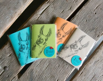 Llama Notebooks, hand drawn and staple bound, letterpress printed eco friendly blank journal, blank page journal, gifts under 15