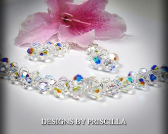 Wedding Bracelet Aurora Borealis Bracelet- Chunky Crystal Bracelet - Three Tier Dangle Earrings - Swarovski Statement Jewelry