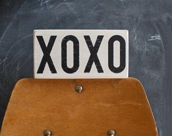 Small Standing XOXO Handpainted Distressed Wood Sign, Hugs and Kisses Sign, Valentine's Gift, Shelf Decor
