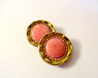 2 buttons pink and gold - used - sewing