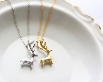 Reindeer Necklace - Christmas Gift, Holiday Gift, Deer Necklace, Antler Necklace Silver or Gold Reindeer Necklace Deer Antler Necklace Gift