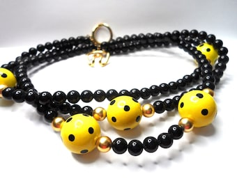 Yellow and Black Polka Dot Lucite Necklace Three  Strand Bead necklace Mod 1960s Necklace Choker Necklace