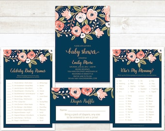 Floral Baby Shower Invitation Party Package, Navy Gold Baby Shower Package, Baby Shower Games Set, Baby Shower Invitation Set