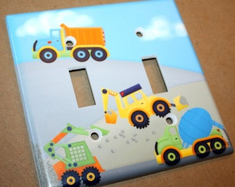 Bright Construction Trucks Boys Bedroom Double Light Switch Cover