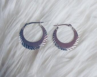 Sterling Vintage Textured Hoop Earrings