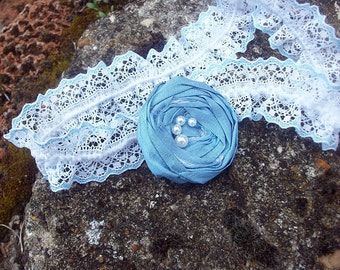 Something Blue - keepsake garter with raw silk rosette in china  blue - ready to ship