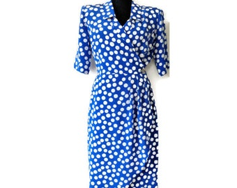 Vintage Blue White Polka Dot Dress, TRICOVILLE Dress, Wrap Blue White Dress, Polyester, EU 38/ US 10/ UK12, 80s
