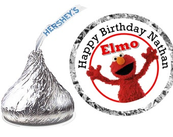 216 ~ Baby Sesame Street ELMO Birthday Party Hershey Kiss Kisses stickers Labels ~ FREE SHIPPING