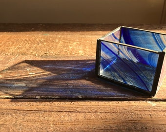 Stained Glass Candle Holder, Blue waves like the ocean