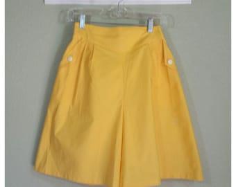 Pin up Shorts, Vintage 80's Yellow High Waist Shorts, Size 28/30 Waist