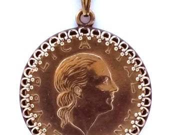 Italy Jewelry Italian Coin Pendant Woman Portrait Gold Vintage Necklace Unique Charm Foreign World Travel Upcycled Boho Jewelry