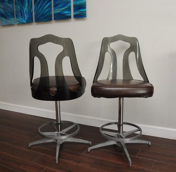 Pair Vtg Lucite Bar Stools Smoked Lucite Acrylic Mid Century