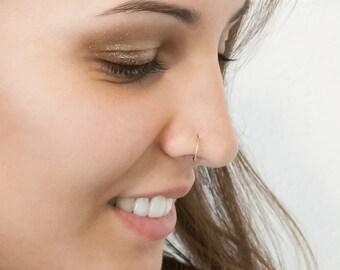 8mm 10 mm open nose ring hoop, nose hoop ring, 18k piercing, nose hoop, nose ring gold, nose Piercing, open nose ring in 18kt gold