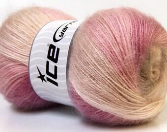 ANGORA Hand Knitting Yarn Light Pink Tan Cream Camel