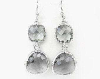 Light gray glass earrings Light charcoal earrings, silver frame Gray bridesmaids earrings, gray weddings jewelry