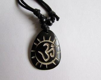 Adjustable Wax cord Om Ohm Aum Namaste Yak bone necklace handmade hand carved Unisex Tribal bone beads Yoga Yogi Free UK Delivery G2D8