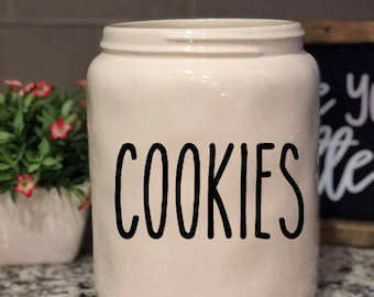 Rae Dunn Inspired Vinyl Decal - Cookies  - Cookie Jar Canister - Utensil Jar - Farmhouse - Coffee