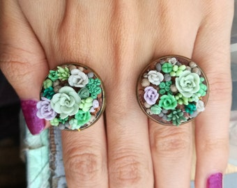 succulent ring / succulents accesories /polymer clay succulent jewelry / floral ring