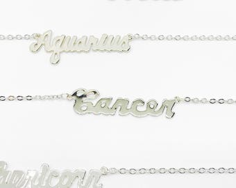 Cancer Zodiac Jewelry, Cancer Silver Zodiac Necklace, Personalized Zodiac, Unique Gift, Zodiac Sign Necklace, Cancer Birthday Gift