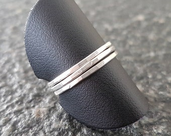 Set of silver hammered rings