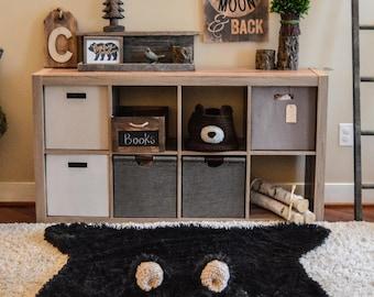 Nursery Bear Rug, Minky bear rug, Camping nursery decor
