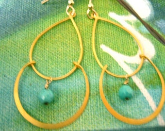 Gold Double Hoop with Turquoise Earrings, Gold Earrings, Turquoise Earrings, 24kt Gold Vermeil Earrings, Aqua Earrings