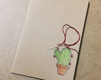 Moleskine Cactus/Custom Notebook/handmade/embroidered/Custom Moleskine