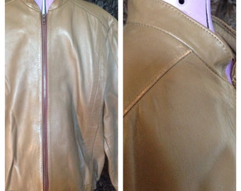 80's brown / green leather jacket size l / xl (uk)