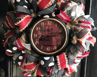 Family Time Clock Wreath