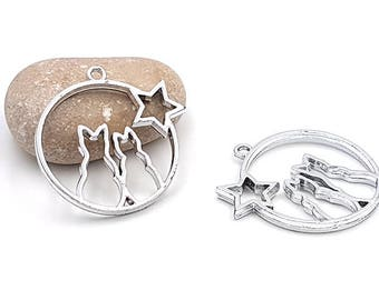 resin light 43mm for creations 5 2 cats Silver Star charm