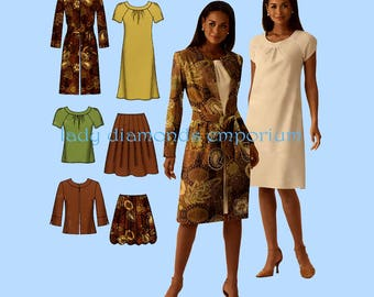 Simplicity 0508 4045 Womens Bias Dress Skirt in 2 Lengths Top Coat Jacket size 14 16 18 20 22 Plus Size Sewing Pattern Uncut FF