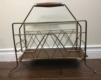 Mid Century metal brass style Magazine Rack with wood base and handle