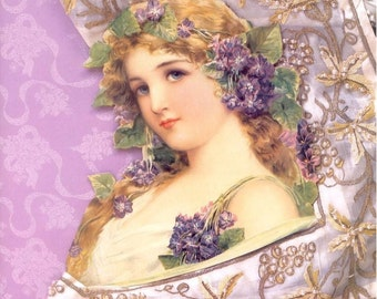 FABRIC BLOCK LARGE 8 BY 10 INCHES FAHIONABLE LADIES GIRL IN LAVENDER COLLAGE GORGEOUS