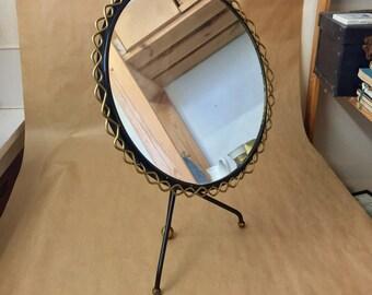 Rare mid century table mirror by Hans-Agne Jakobsson Markaryd, Sweden 1950s