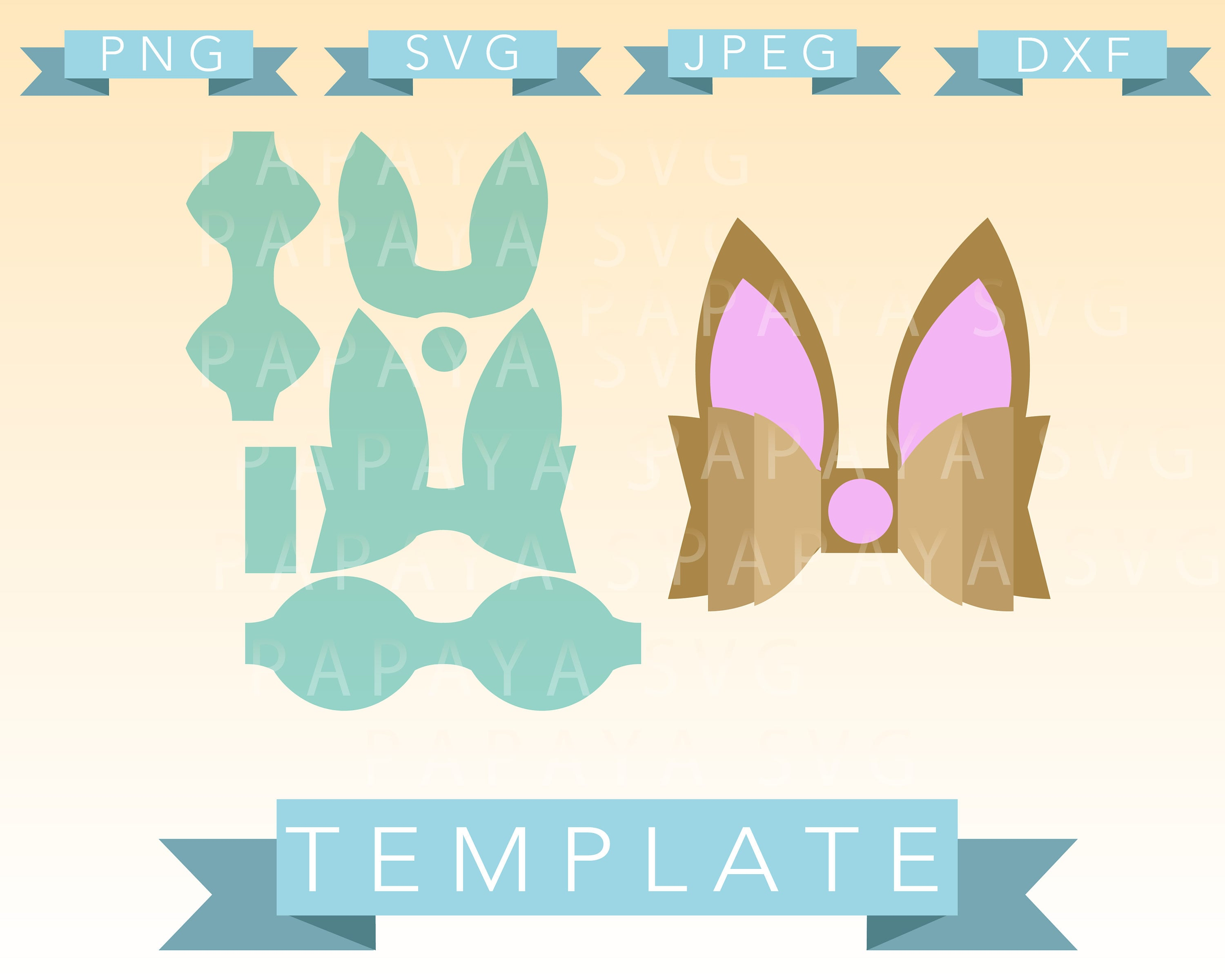 Diy Double Easter Bow Template Cut File Svg Png Jpeg