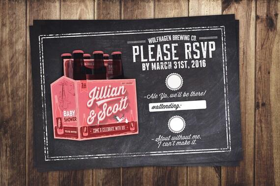 Rsvp Card Coed Baby Shower Invitation Beer Baby Shower